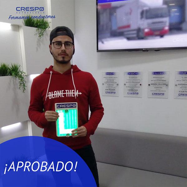 Alvaro García Aprobado Autoescuela Crespo