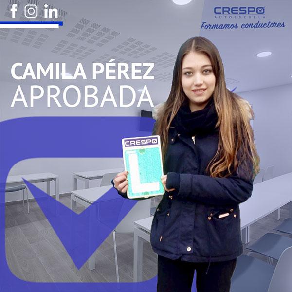 Camila Perez Aprobada Autoescuela Crespo