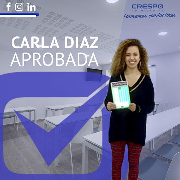 Carla Díaz Aprobada Autoescuela Crespo