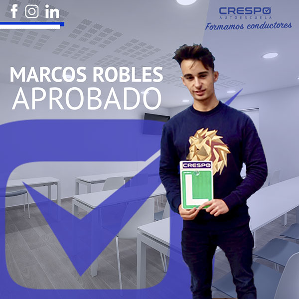 Marcos Robles Aprobado Autoescuela Crespo
