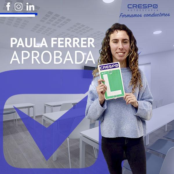 Paula Ferrer Aprobada Autoescuela Crespo