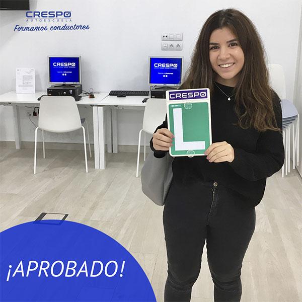 Sara Ruiz Aprobada Autoescuela Crespo