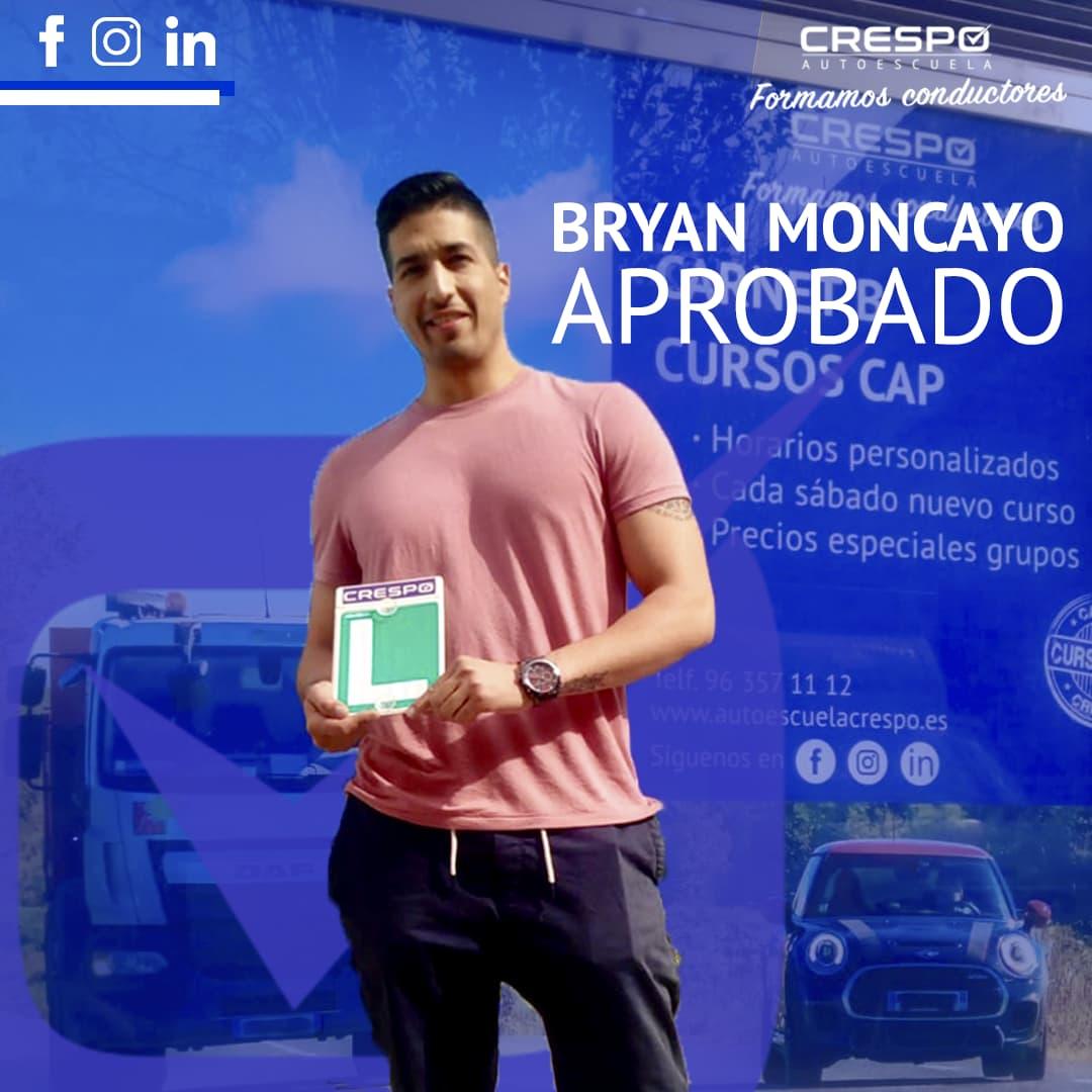 Bryan Moncayo aprobado