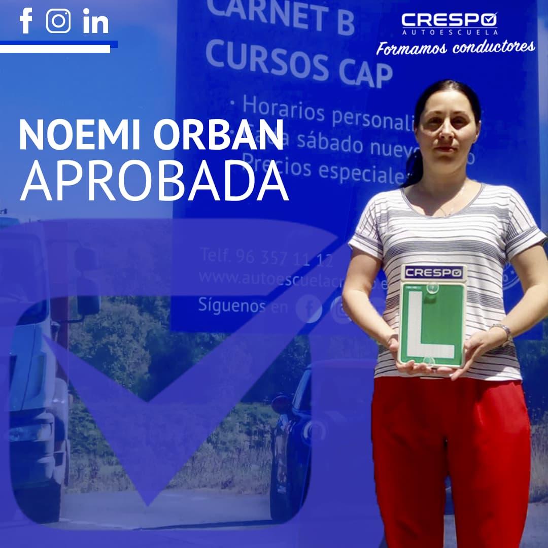 Noemi Orban aprobada